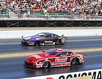 Jul 30, 2017; Sonoma, CA, USA; NHRA pro stock driver Greg Anderson (near) races alongside Vincent Nobile during the Sonoma Nationals at Sonoma Raceway. Mandatory Credit: Mark J. Rebilas-USA TODAY Sports