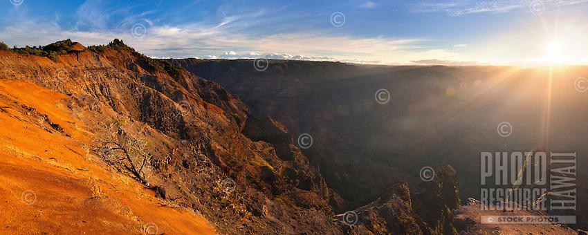Sunrise at Waimea Canyon, Kauai.