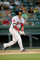 Catcher Oscar Rangel (17) of the Greenville Drive bats in a game against the Augusta GreenJackets on Thursday, August 29, 2019, at Fluor Field at the West End in Greenville, South Carolina. Augusta won, 11-0. (Tom Priddy/Four Seam Images)