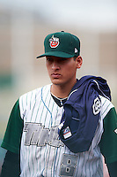 Fort Wayne TinCaps pitcher Gerardo Reyes (8) walks to the dugout after the second game of a doubleheader against the Great Lakes Loons on May 11, 2016 at Parkview Field in Fort Wayne, Indiana.  Great Lakes defeated Fort Wayne 5-0.  (Mike Janes/Four Seam Images)