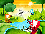 Illustrative representation of online shooting game