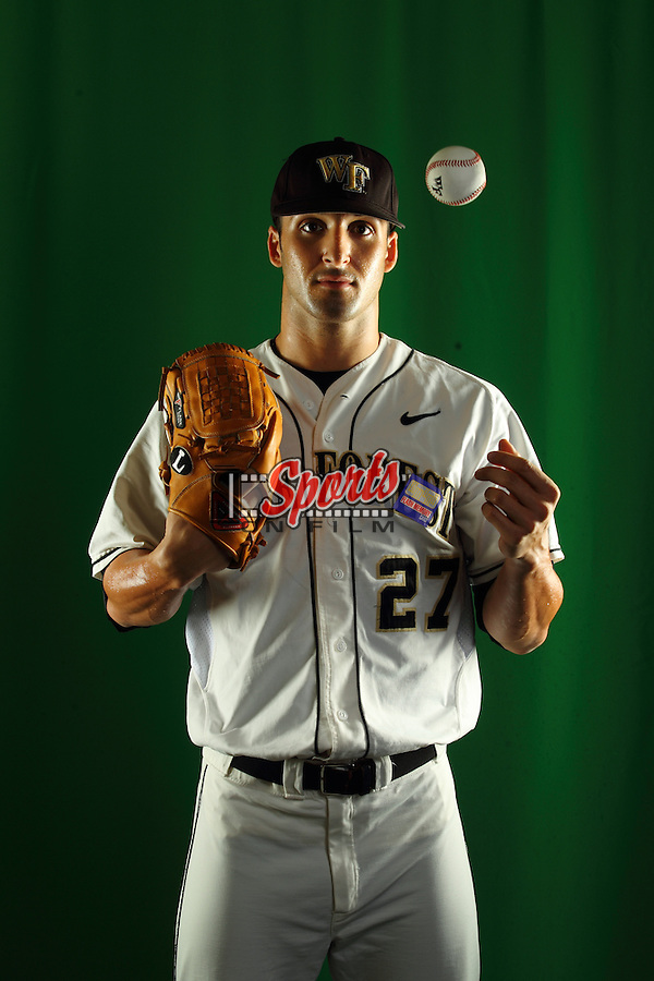 Niko Spezial (27) poses during a photo session at Wake Forest Baseball Park on January 15, 2013 in Winston-Salem, North Carolina.    (Brian Westerholt/Sports On Film)