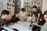 Mario Schjetnan's team at work in their offices in the Condesa neighborhood of mexico city.   , Mexico
