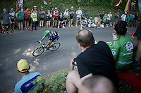 Ruben Plaza (ESP/Orica-BikeExchange) descending the Grand Colombier with a bidon in his mouth<br /> <br /> stage 15: Bourg-en-Bresse to Culoz (160km)<br /> 103rd Tour de France 2016