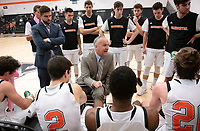 Brian Newhall, head men's basketball coach<br /> The Occidental College men's basketball team plays against Claremont-Mudd-Scripps on January 9, 2019 in Rush Gym. Oxy lost 63-60, breaking their 13-game winning streak.<br /> (Photo by Marc Campos, Occidental College Photographer)