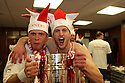 Chris Beardsley ang goalscorer John Mousinho of Stevenage celebrate in the dressing room after winning the npower League 2 play-off final between Stevenage and Torquay United at Old Trafford, Manchester on 28th May, 2011.© Kevin Coleman 2011.