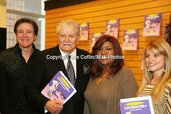 "Frank Dicopoulos, John Aniston, Gloria Gaynor and Marcy Ryan (voices of Dean, the dog; Loukoumi's daddy; Fistiki, the cat and Daisy, the giraffe) as they held a reading and a signing at the booksigning of Loukoumi's ""Good Deeds"" on April 4, 2009 at Lincoln Square, Barnes & Noble, New York City, NY.  $2 of each book sale will be donated to St. Jude Children's Research Hospital which is in itself, a good deed. (Photo by Sue Coflin/Max Photos)"