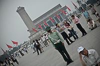 """A l'emplacement où la statue """"Déesse de la démocratie"""" avait été érigée en 1989."""