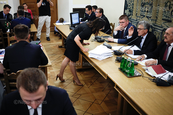 WARSAW, POLAND, JULY 20, 2017:<br /> Opposition protests against the new law introduced by ruling party PiS (Law &amp; Justice), during the Justice Commission sitting at the Sejm, Polish parliamament. The proposed law will make the judges of Supreme Court of Poland elected by the parliament, where PiS has majority. Also, all present judges except for the ones shown by the Justice ministery will be fired. Opposition points that all these measure are unconstitutional.<br /> (Photo by Piotr Malecki / Napo Images)<br /> <br /> WARSZAWA, 19/07/2017:<br /> Poslowie opozycji z partia Nowoczesna i PO protestuja podczas sejmowej komisji sprawiedliwosci przeciwko nowemu prawu ktore spowoduje ze sedziowie Sadu Najwyzszego beda wybierani przez Sejm, a obecni straca stanowiska (poza wskazanymi przez ministra sprawiedliwosci)<br /> n/z Kamila Gasiuk-Pihowicz, Nowoczesna i sedzia Stanislaw Piotrowicz<br /> Fot: Piotr Malecki / Napo Images
