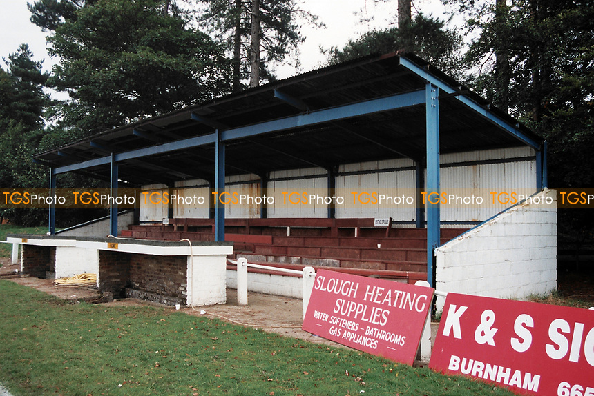 The main stand at Burnham FC, Wymers Wood Road, Burnham, Berkshire, pictured on 25th September 1993