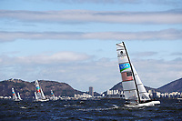 RIO DE JANEIRO, BRAZIL - AUGUST 11:  Bora Gulari of the United States and Louisa Chafee of the United States compete in the Nacra 17 Mixed class on Day 6 of the Rio 2016 Olympics at Marina da Gloria on August 11, 2016 in Rio de Janeiro, Brazil.  (Photo by Clive Mason/Getty Images)
