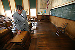Nevada Gov. Brian Sandoval tours the historic Fourth Ward School in Virginia City, Nev., on Monday, April 13, 2015.<br /> Photo by Cathleen Allison