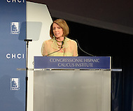 September 14, 2011 (Washington, DC)   House Democratic Leader Nancy Pelosi addresses attendees of the 34th Annual Congressional Hispanic Caucus Awards Gala.  (Photo by Don Baxter/Media Images International)