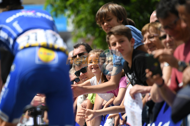 Fans greet the riders at sign on before the start of Stage 2 of the Criterium du Dauphine 2017, running 171km from Saint-Chamond to Arlanc, France. 5th June 2017. <br /> Picture: ASO/A.Broadway | Cyclefile<br /> <br /> <br /> All photos usage must carry mandatory copyright credit (&copy; Cyclefile | ASO/A.Broadway)