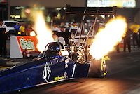 Jun. 29, 2012; Joliet, IL, USA: NHRA top fuel dragster driver Tim Cullinan during qualifying for the Route 66 Nationals at Route 66 Raceway. Mandatory Credit: Mark J. Rebilas-