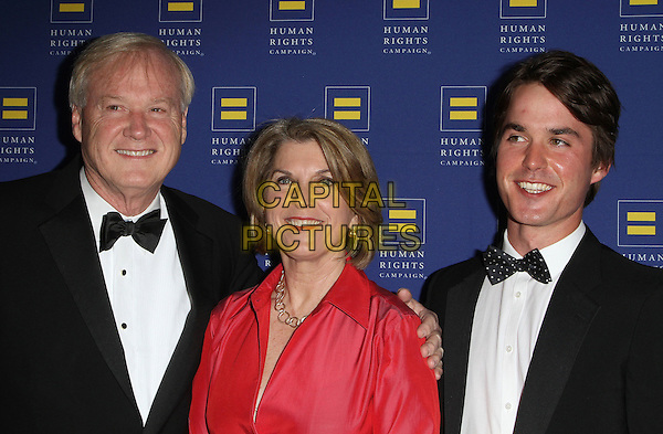 Chris Matthews, Kathleen Matthews, Thomas Matthews.2012 Human Rights Campaign Los Angeles Gala held at The Ritz-Carlton/JW Marriott L.A. Live, Los Angeles, California, USA..March 17th, 2012.half length tuxedo pink dress married husband wife black bow tie white shirt mother mom mum father dad family.CAP/ADM/KB.©Kevan Brooks/AdMedia/Capital Pictures.