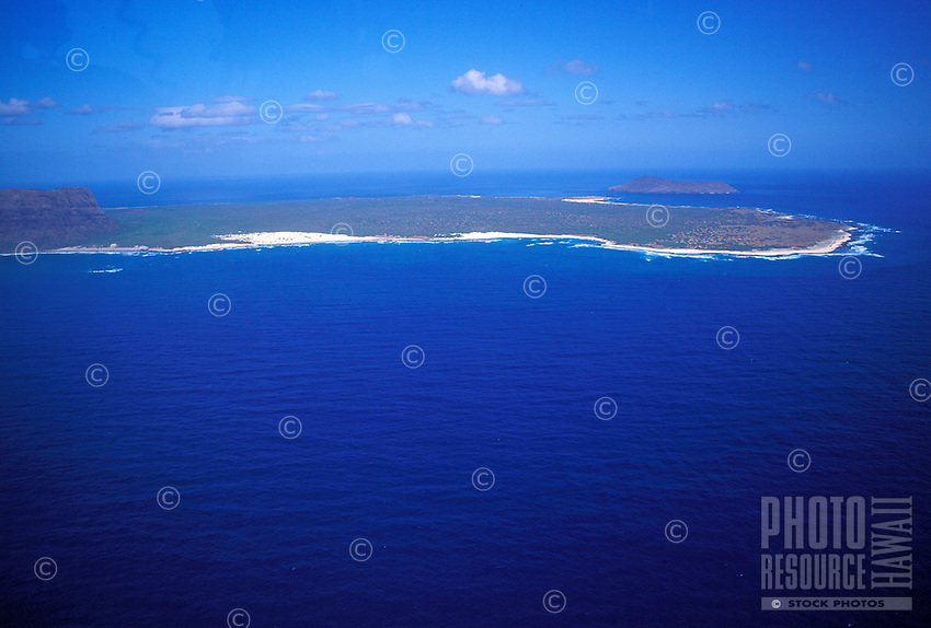 The island of Niihau from the air with Lehua Island in the background