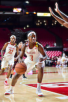 College Park, MD - NOV 16, 2016: Maryland Terrapins guard Kaila Charles (3) makes a move in the paint during game between Maryland and Maryland Eastern Shore Lady Hawks at XFINITY Center in College Park, MD. The Terps defeated the Lady Hawks 106-61. (Photo by Phil Peters/Media Images International)