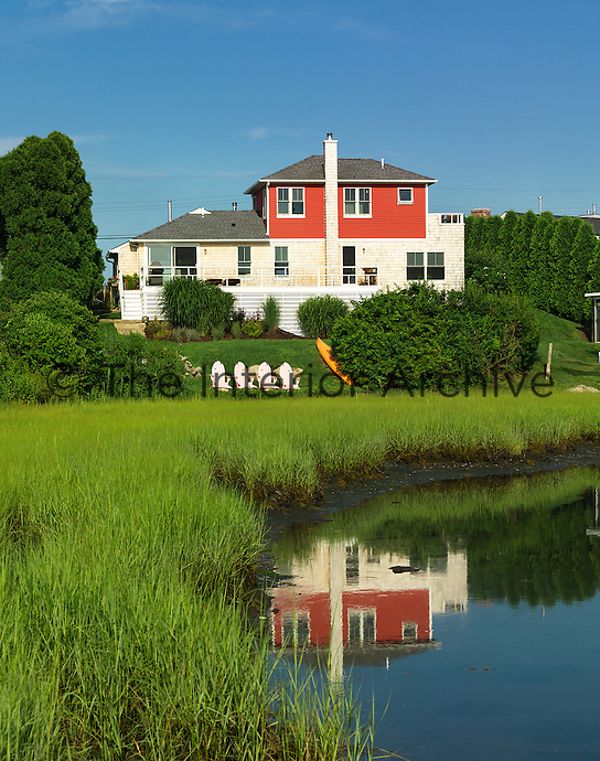 Exterior view of the New England holiday home from over Great Salt Pond