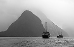 Milford Sound in black and white on a rainy morning