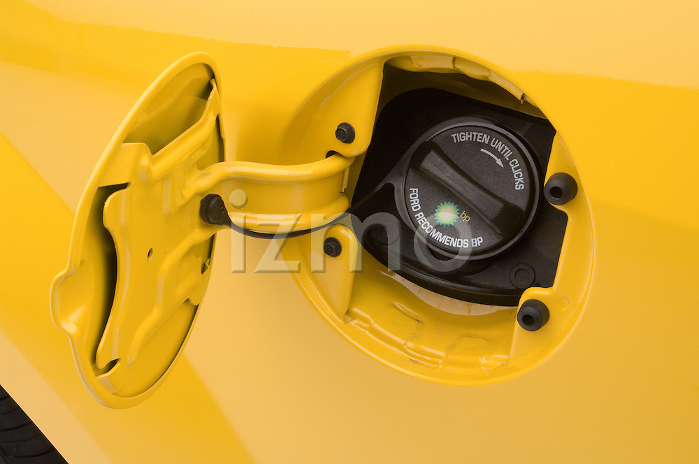 Open gas cap detail of a 2006 Ford Mustang Coupe