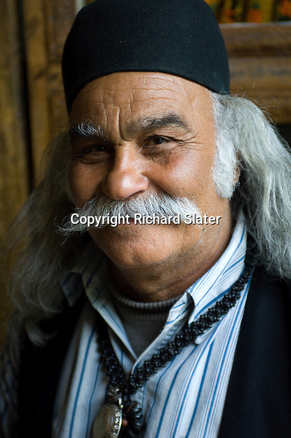 A kindly old man with a luxuriant moustache in Shiraz, Iran.
