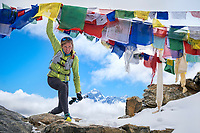 Kim Strom looking happy to have done all 3 Passes of the 3 Passes Tour as a trail running goal. Khumbu Valley, Nepal.