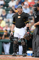 Catcher Russell Martin (55) of the Pittsburgh Pirates during a spring training game against the New York Yankees on February 26, 2014 at McKechnie Field in Bradenton, Florida.  Pittsburgh defeated New York 6-5.  (Mike Janes/Four Seam Images)