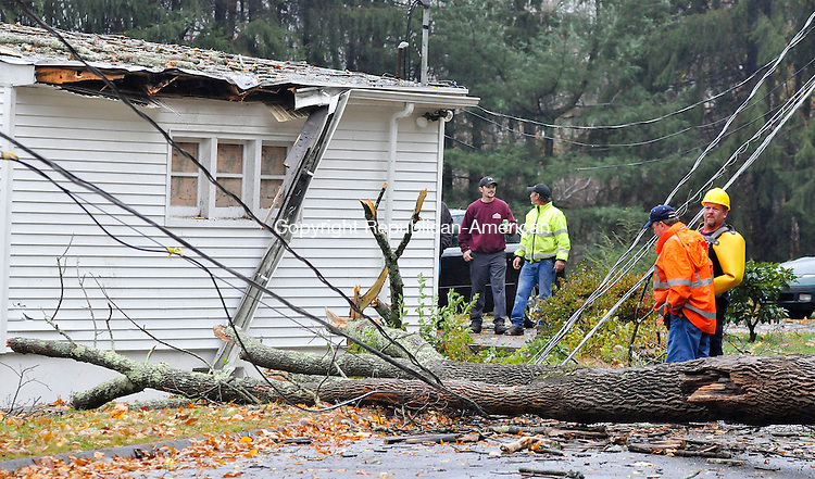 NAUGATUCK, CT-29 OCTOBER 2012--102912JS07--Utility crews look over a tree that had fallen on wires and damaged a garage on Hill Road in Naugatuck on Monday..Jim Shannon Republican-American