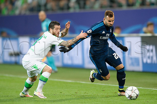 06.04.2016. Wolfsburg, Geramny. UEFA Champions League quarterfinal. VfL Wolfsburg versus Real Madrid.   Jese of Madrid goes around the outside
