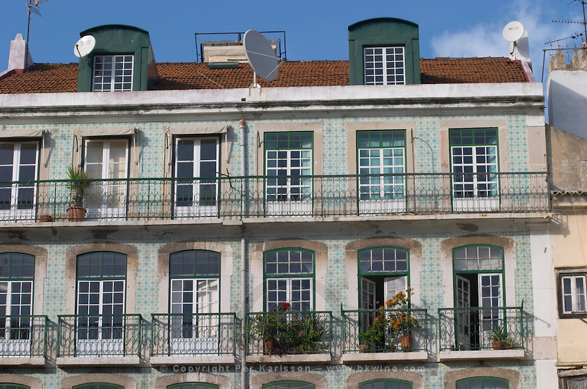Building with windows and balconies. Lisbon, Portugal