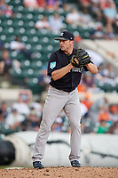New York Yankees relief pitcher Rex Brothers (55) gets ready to deliver a pitch during a Grapefruit League Spring Training game against the Detroit Tigers on February 27, 2019 at Publix Field at Joker Marchant Stadium in Lakeland, Florida.  Yankees defeated the Tigers 10-4 as the game was called after the sixth inning due to rain.  (Mike Janes/Four Seam Images)