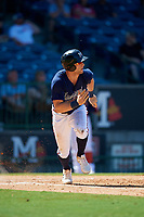 Mississippi Braves Connor Lien (5) runs to first base during a Southern League game against the Jacksonville Jumbo Shrimp on May 5, 2019 at Trustmark Park in Pearl, Mississippi.  Mississippi defeated Jacksonville 1-0 in ten innings.  (Mike Janes/Four Seam Images)
