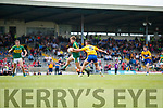 Fiáchra Clifford Kerry in action against Sean Rouine Clare in the Munster Minor Football Final at Fitzgerald Stadium on Sunday.