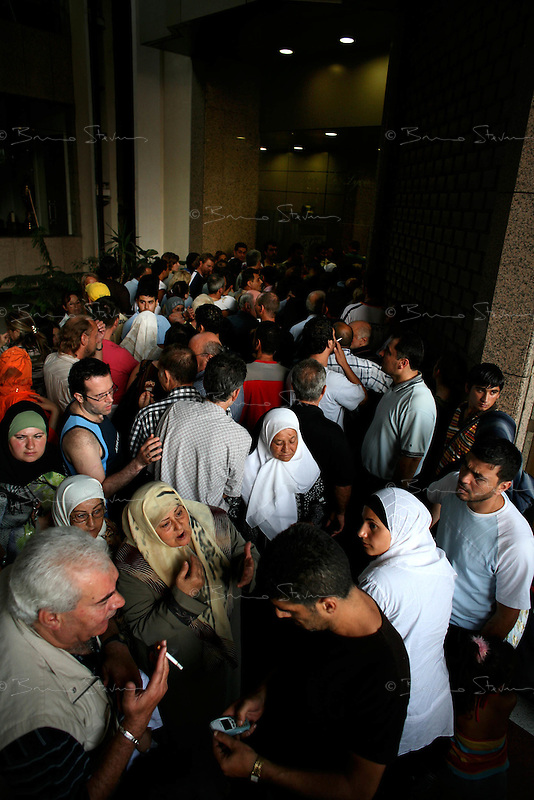 Beirut, Lebanon, morning of July 17, 2006.A group of German nationals as well as European clients from German charter airline LTU anxiously waits for evacuation to Syria.