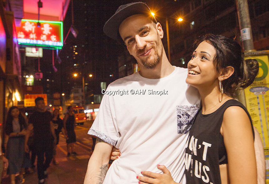 Alexander O'Neill (31) and Stephanie Valenzuela (22) are seen in Hong Kong, China, 25 September 2015.  Alexander O'Neill (31) an ex-friend of Tsang and his girlfriend Valenzuela helped bring Stephen Tsang to justice.