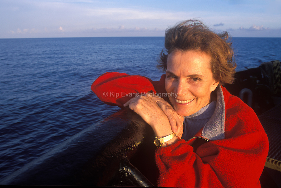 Dr. Sylvia Earle aboard a commercial ship in the Gulf of Mexico.