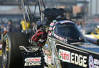 Feb. 22, 2013; Chandler, AZ, USA; Detailed view of the canopy on the car of NHRA top fuel dragster driver Brittany Force during qualifying for the Arizona Nationals at Firebird International Raceway. Mandatory Credit: Mark J. Rebilas-