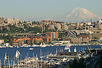 Seattle, The Fred Hutchinson Cancer Research Center complex is centered in this image - the red-brown brick structures.Mount Rainier, Lake Union, Washington State, Pacific Northwest, USA,.