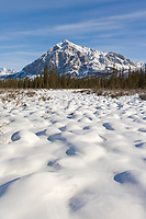 Mount Dillon and snow covered tundra tussocks, Brooks Range, Arctic, Alaska.