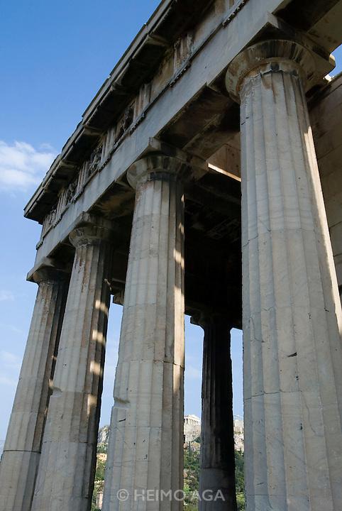 Acropolis seen through the pillars of Hephaistos Temple at the Agora.
