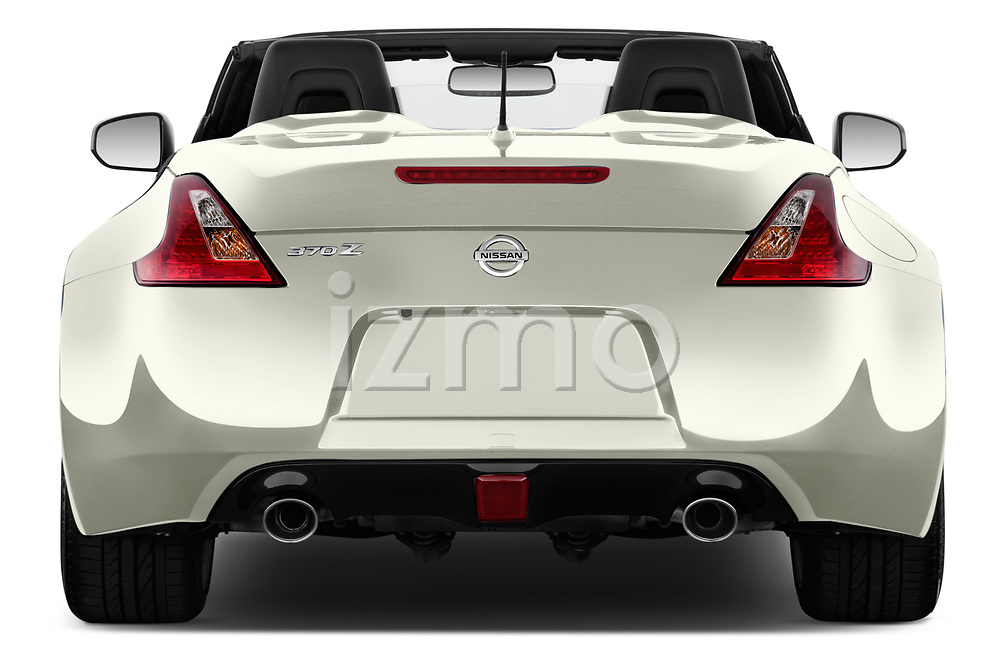 Straight rear view of a 2019 Nissan 370Z  Touring  2 Door Convertible stock images