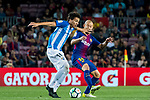Adalberto Penaranda of Malaga CF competes for the ball with Javier Alejandro Mascherano (r) of FC Barcelona during the La Liga 2017-18 match between FC Barcelona and Malaga CF at Camp Nou on 21 October 2017 in Barcelona, Spain. Photo by Vicens Gimenez / Power Sport Images