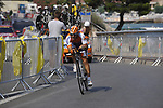 Rabobank team rider Oscar Freire (ESP) powers his way round during the Prologue Stage 1 of the 2009 Tour de France a 15.5km individual time trial held around Monaco. 4th July 2009 (Photo by Eoin Clarke/NEWSFILE)