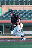 AZL Giants Orange right fielder Franklin Labour (49) starts down the first base line during an Arizona League game against the AZL Rangers at Scottsdale Stadium on August 4, 2018 in Scottsdale, Arizona. The AZL Giants Black defeated the AZL Rangers by a score of 3-2 in the first game of a doubleheader. (Zachary Lucy/Four Seam Images)