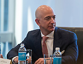 Amazon CEO Jeff Bezos is seen at a meeting of technology leaders in the Trump Organization conference room at Trump Tower in New York, NY, USA on December 14, 2016. <br /> Credit: Albin Lohr-Jones / Pool via CNP