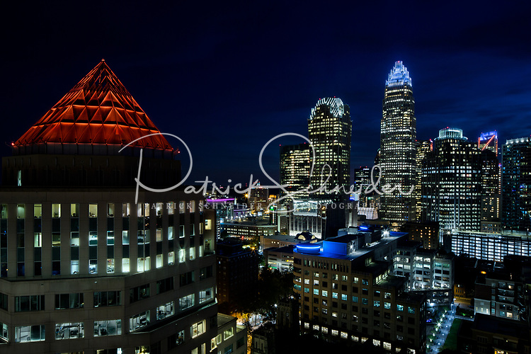 Skyline photography of the Charlotte NC downtown skyline. Photo, taken from the North side of Charlotte, is part on a regularly updated collection of Charlotte skyline imagery. Image shows the Duke Energy headquarters tower (far left) and the Bank of America tower (center) as well as other key structures in the Charlotte NC skyline.<br /> <br /> Charlotte Photographer - PatrickSchneiderPhoto.com<br /> <br /> Charlotte Photographer - PatrickSchneiderPhoto.com