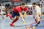 Mannheim, Germany, January 08: During the 1. Bundesliga men indoor hockey match between TSV Mannheim and Mannheimer HC on January 8, 2020 at Primus-Valor Arena in Mannheim, Germany. Final score 5-4. (Photo by Dirk Markgraf / www.265-images.com) *** Paul Zmyslony #13 of Mannheimer HC, Moritz Moeker #6 of TSV Mannheim
