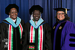 Left to right, Sr. Agnes Njeri, Sr. Alice Onzoyo, Marisa Alicea, dean of the School for New Learning. DePaul University School for New Learning held its commencement ceremony, Saturday, June 10, 2017, at the Rosemont Theatre in Rosemont, IL. The Rev. Dennis H. Holtschneider, C.M., president of DePaul, conferred the degrees. (DePaul University/Jeff Carrion)