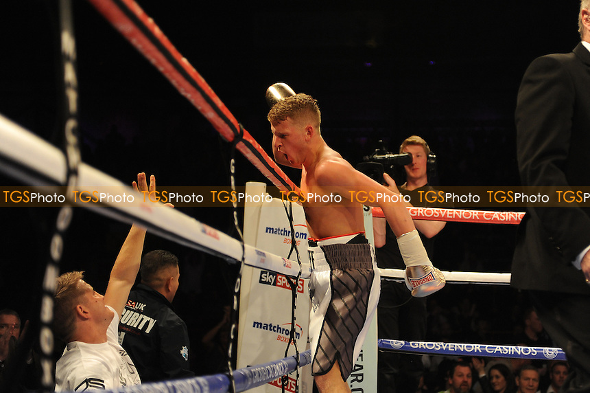 Jeff Saunders stops Sandor Racz - Boxing at the Metro Radio Arena, Newcastle, promoted by Matchroom Sports - 04/04/15 - MANDATORY CREDIT: Steven White/TGSPHOTO - Self billing applies where appropriate - contact@tgsphoto.co.uk - NO UNPAID USE